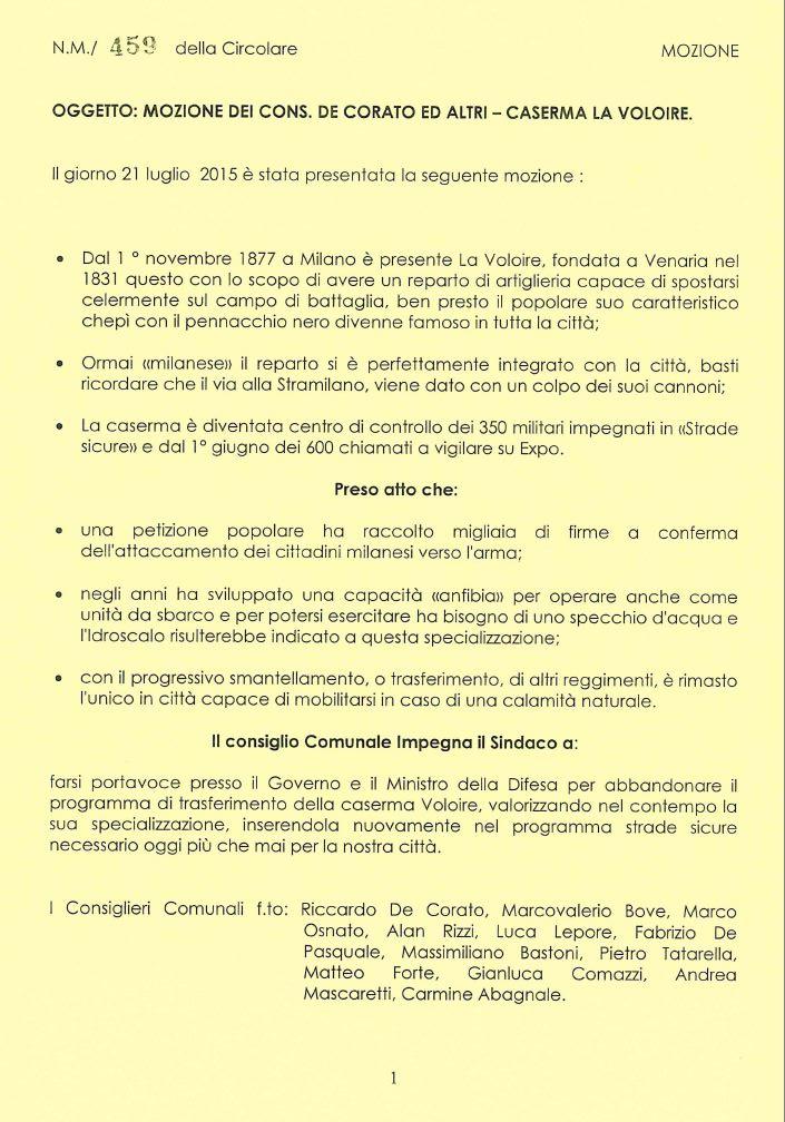 2015 10 02 Mozione del Comune di Milano (DE CORATO)